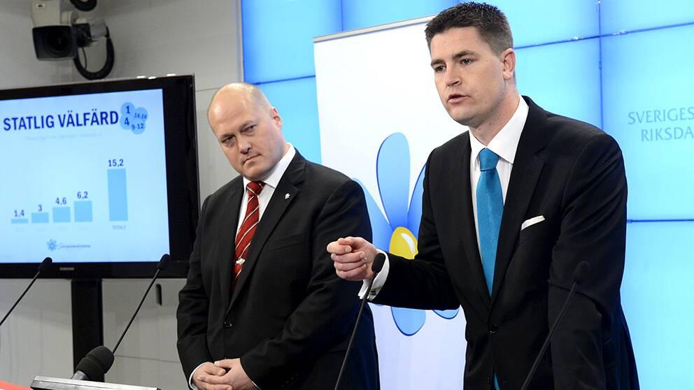 Per-Olof Sällström, ny ekonomisk-politisk talesman för Sverigedemokraterna, och Oscar Sjöstedt, politiskt sakkunnig på SD:s riksdagskansli.