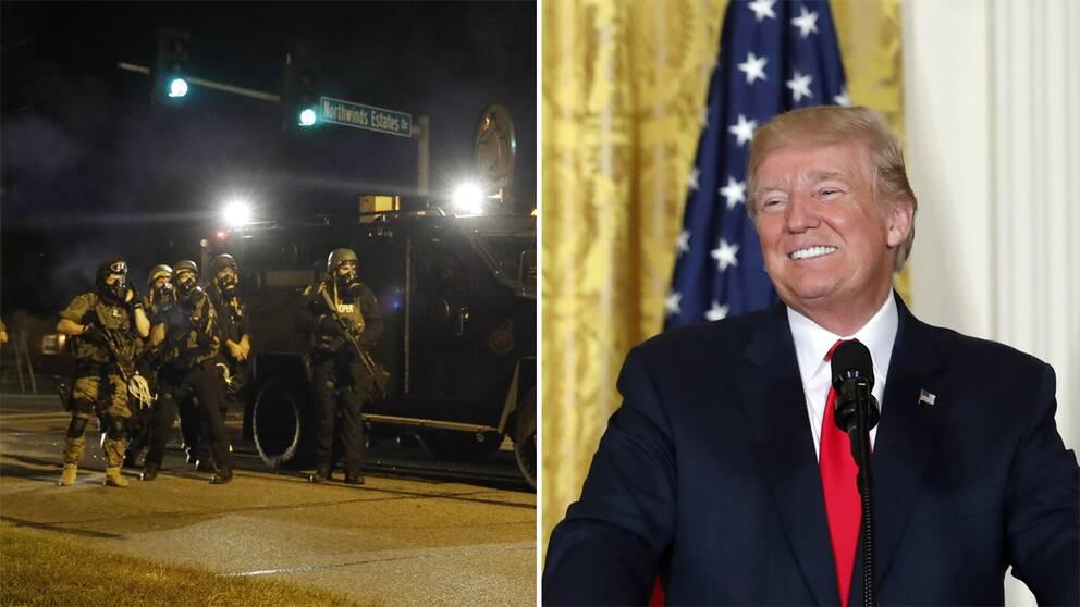 Till vänster amerikansk polis iförda hjälmar, gasmask, skyddsvästar framför ett pansarfordon. Till höger en bild på USA:s president Donald Trump, leendes. I bakgrunden skymtas en amerikansk flagga.