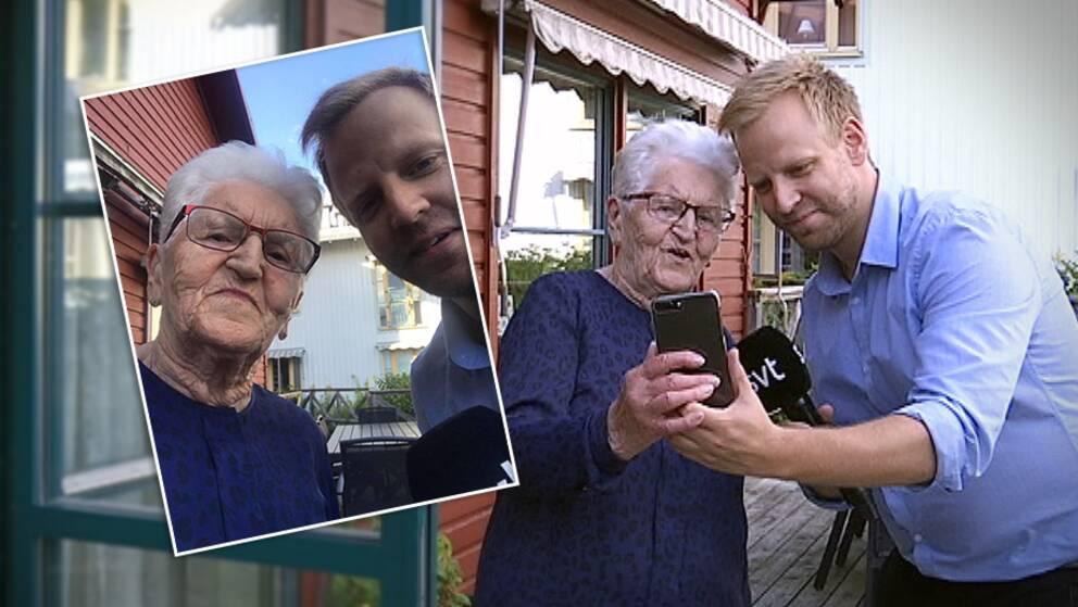 Erni Svensson på Sjölunda visar hur man tar en selfie.