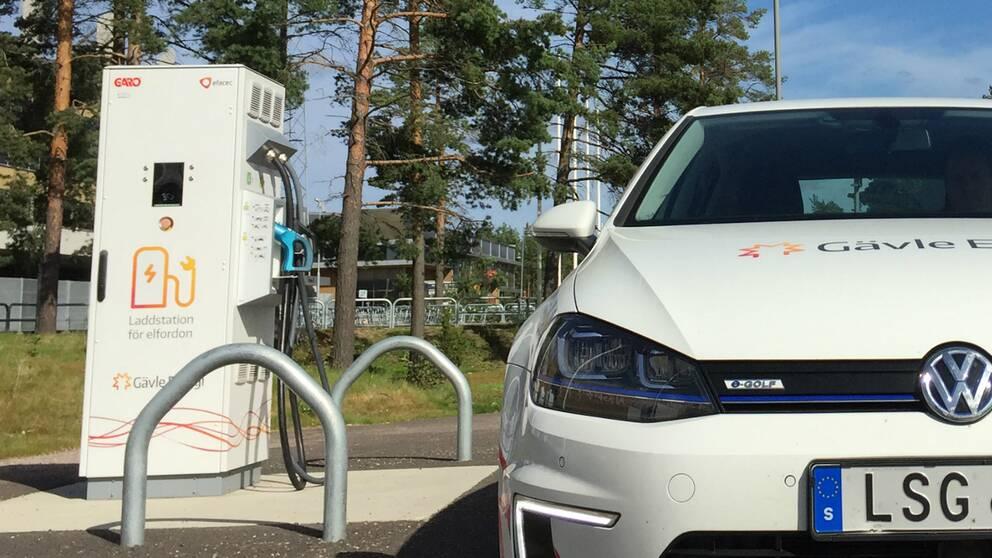 Laddningsstation för elbilar och en elbil