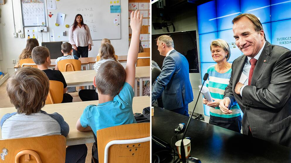 En pojke räcker upp handen i ett klassrum, samt statsminister Stefan Löfven (S) och Ulla Andersson (V).