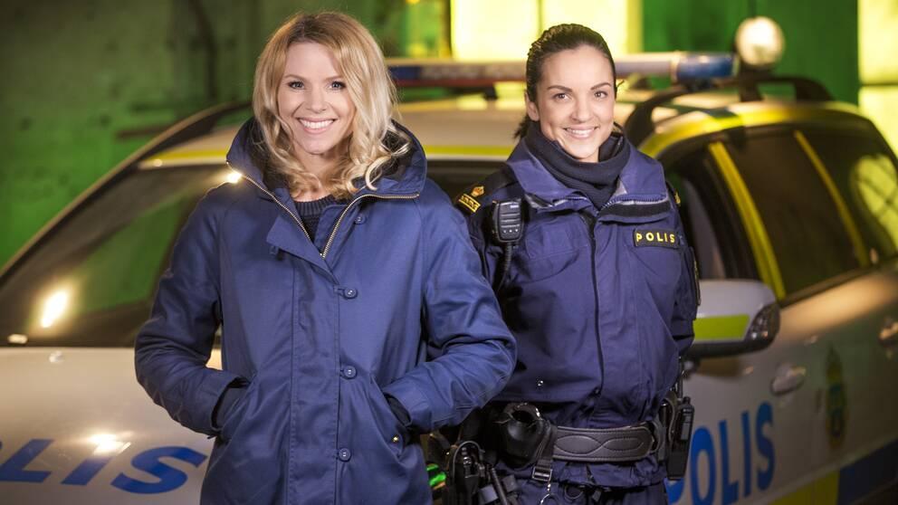 Programledaren Sofia Rågenklint och polisen Alexandra Goncalves.