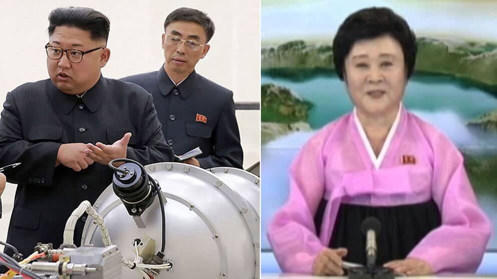 Här meddelas den nordkoreanska kärnvapentestet i statstelevisionen