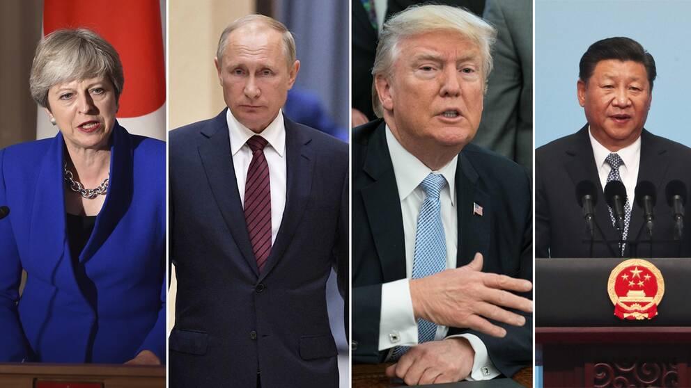 Från vänster: Storbritanniens premiärminister Theresa May, Rysslands president Vladimir Putin, USA:s president Donald Trump och Kinas presidentXiJinping. Bilden är ett montage.