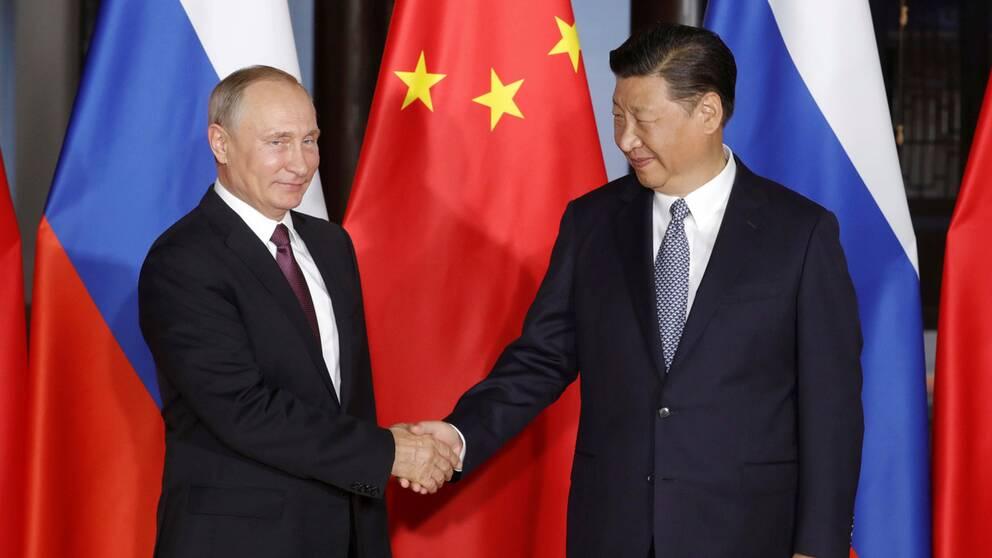 Rysslands president Putin och Kinas president Xi Jinping på BRICS-mötet.