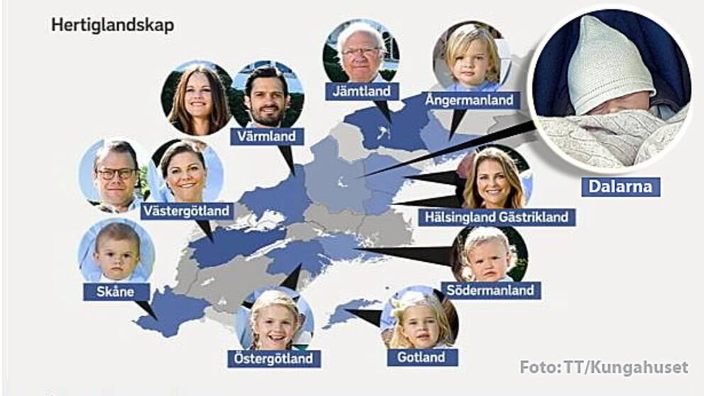 Karta över hertigar och hertiginnor i Sverige och deras hertigdömen