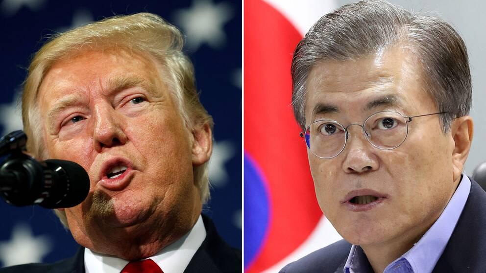 USA:s president Donald Trump och Sydkoreas president Moon Jae-in.