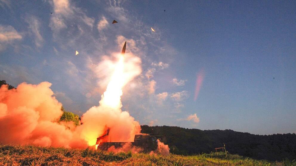 Sydkoreansk robotuppskjutning under måndagens övning.