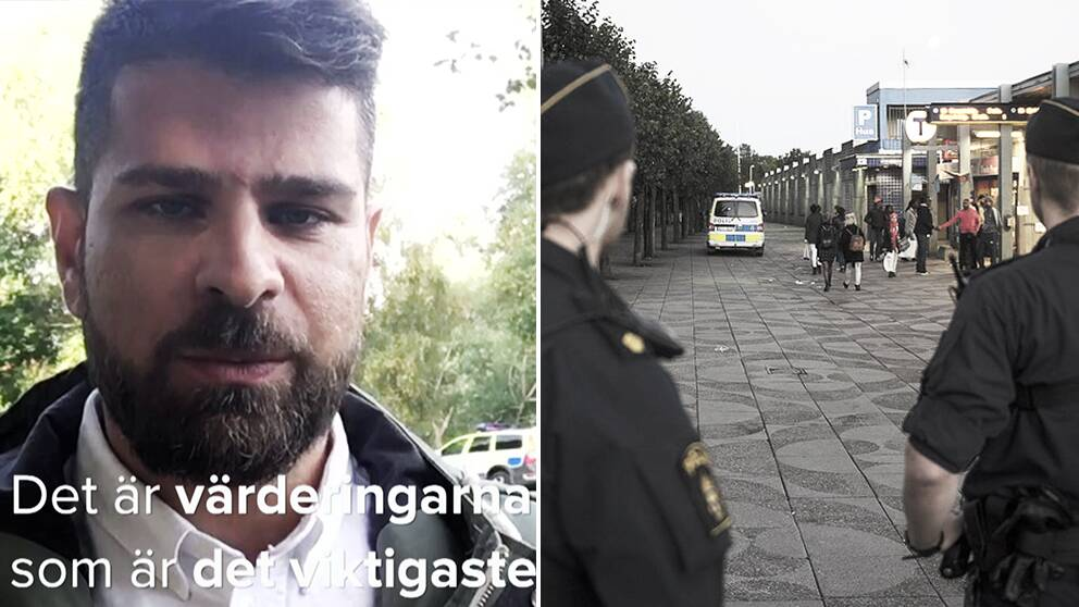 Hanif Azizi jobbar som områdespolis i Rinkeby.