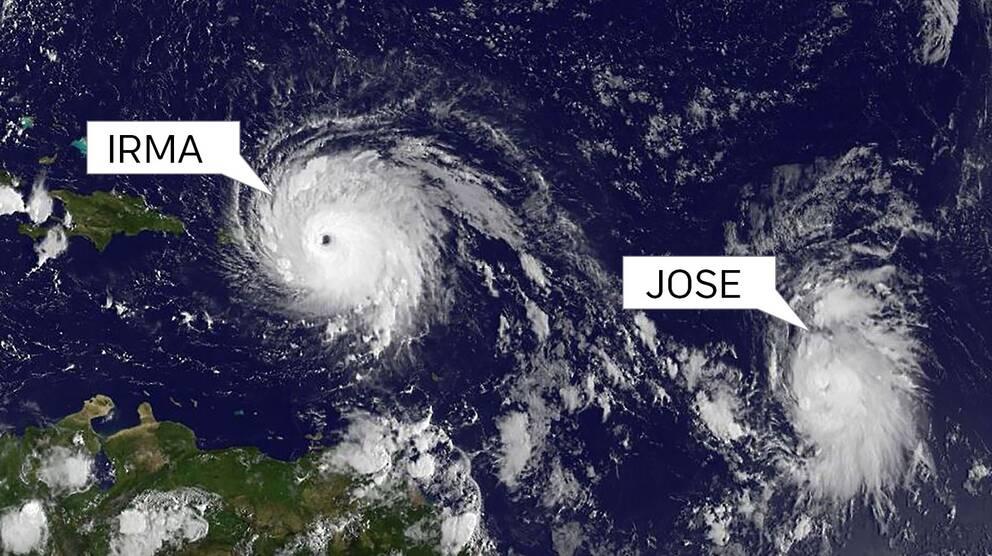 Orkanen Irma följs av stormen Jose