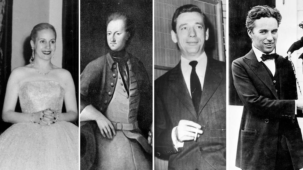 "Eva ""Evita"" Peron, Kung Karl XII, Yves Montand och CharlieChaplin."