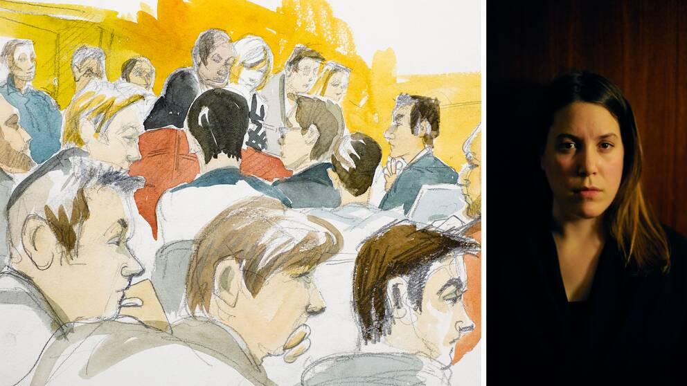 Illustration från rättegången vid Södertäljemålet samt författaren Ann Törnkvist
