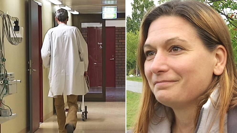 läkare ses bakifrån i korridor, porträttbild en kvinna