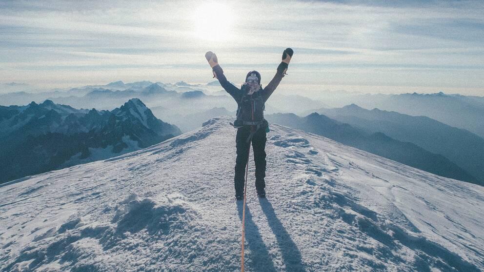 På toppen av Mont Blanc.