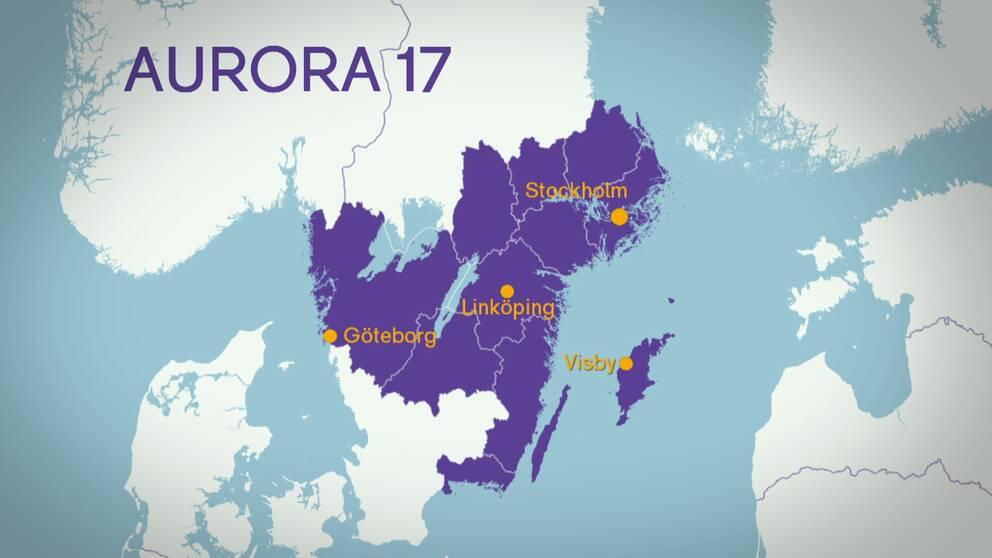 Karta över Sverige där regioner som berörs är utmärkta.