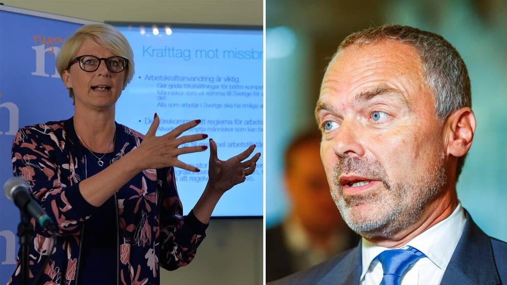 Moderaternas Elisabeth Svantesson och Liberalernas Jan Björklund kritiserar skattehöjningen.