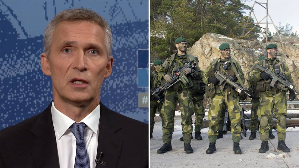 Till vänster bild från tv-intervju med Jens Stoltenberg framför en blåspräcklig skärm. Till höger arkivbild på svensk militär. Tre personer står i gröna kamouflagekläder med gröna baskrar och grön färg i ansiktet.