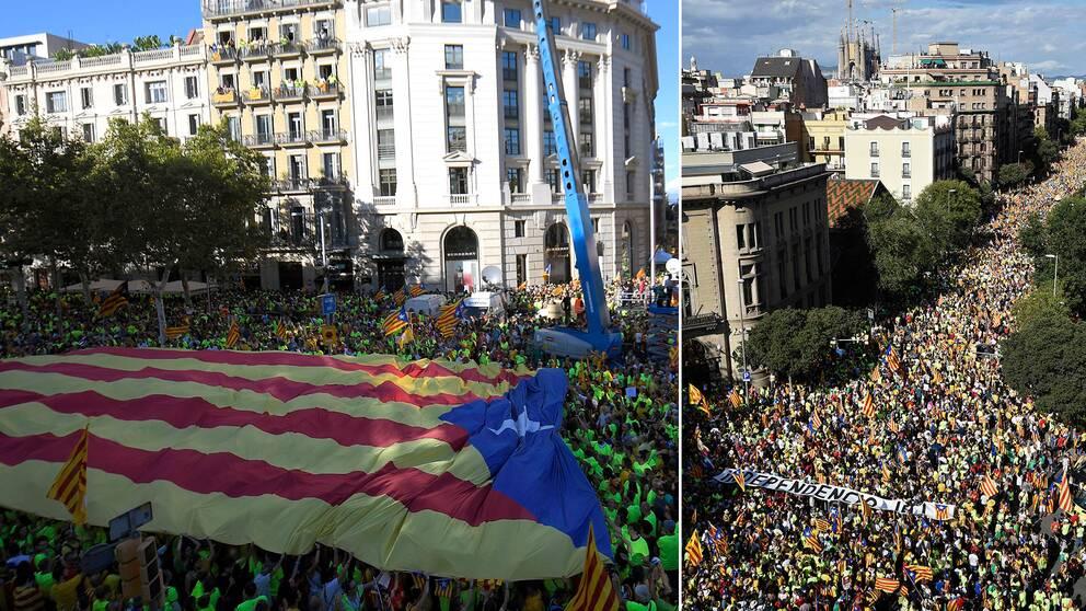 Hundratusentals tågade genom centrala Barcelona med krav på självständighet
