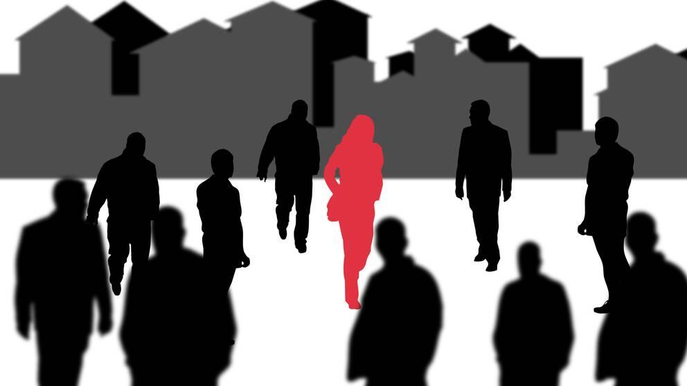 Grafik. En kvinna i mitten i röd färg med tio män runtomkring sig.