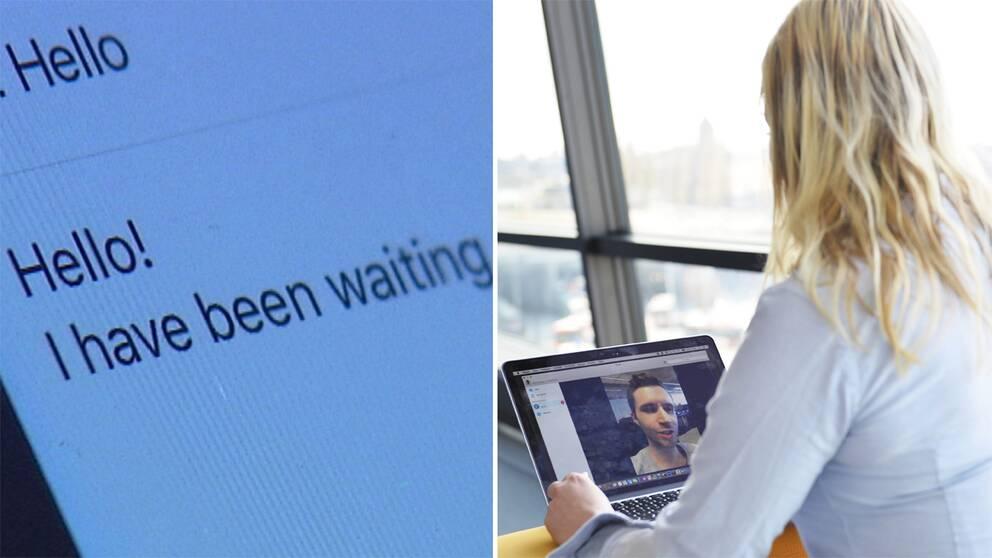Bild på en konversation och en kvinna som pratar med en man.