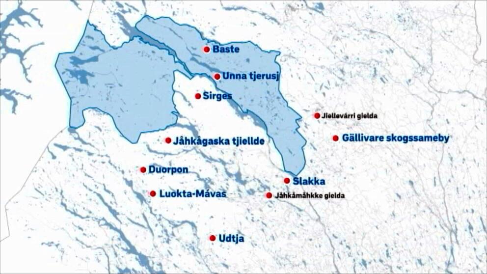 Karta över världsarvet Laponia