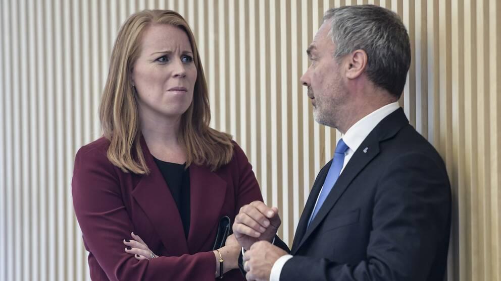 Annie Lööf (C) och Jan Björklund (L) vid riksdagens öppnande.