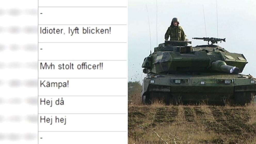 Bild på swish och stridsvagn.