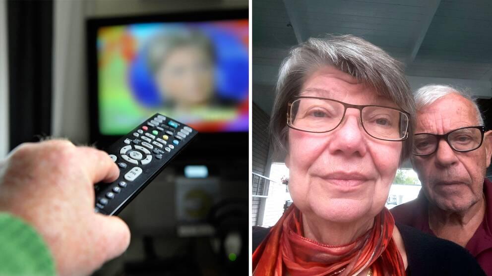 Hand som zappar på tv-dosan framför en tv. Andra halvan av bilden föreställer Karin och Stig Lindqvist från Karlskrona.