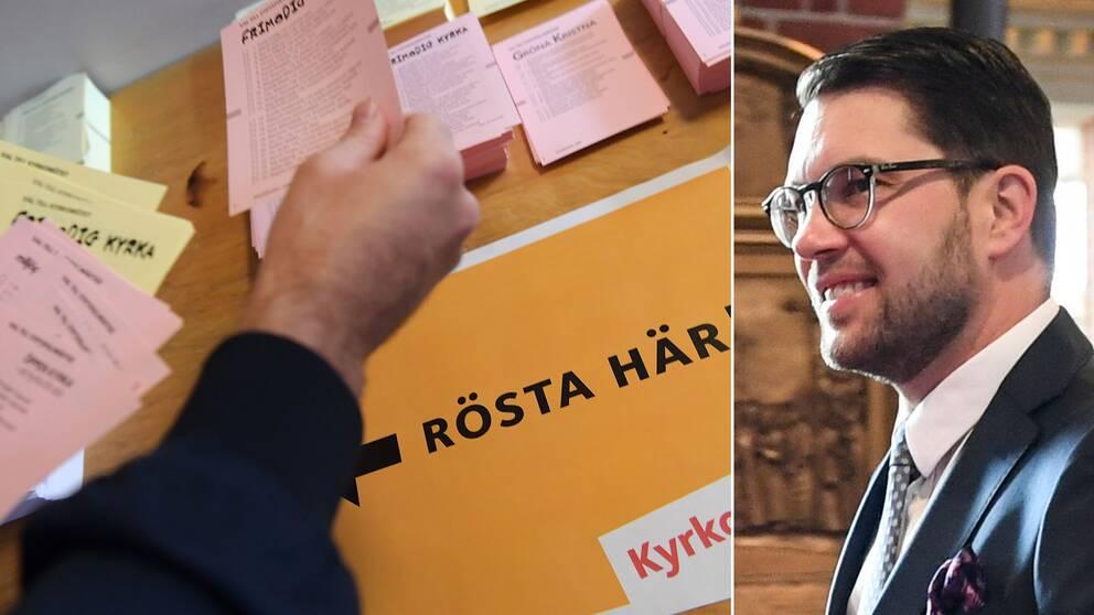 Mest ökar Sverigedemokraterna i årets kyrkoval, enligt det preliminära resultatet.