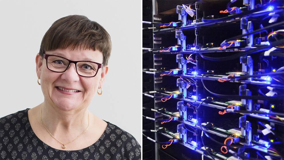 Till vänster Anne-Marie Eklund Löwinder framför en vit bakgrund. Till höger ett serverskåp i Facebooks serverhall i Luleå. Båla och gröna dioder lyser och sladdar är kopplade mellan olika delar av servern. Arikvbild.