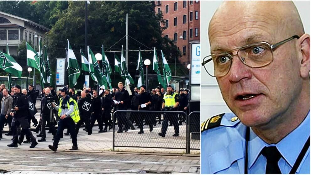 NMR demonstrerar i Göteborg den 17 september. Till höger polischefen Erik Nord.