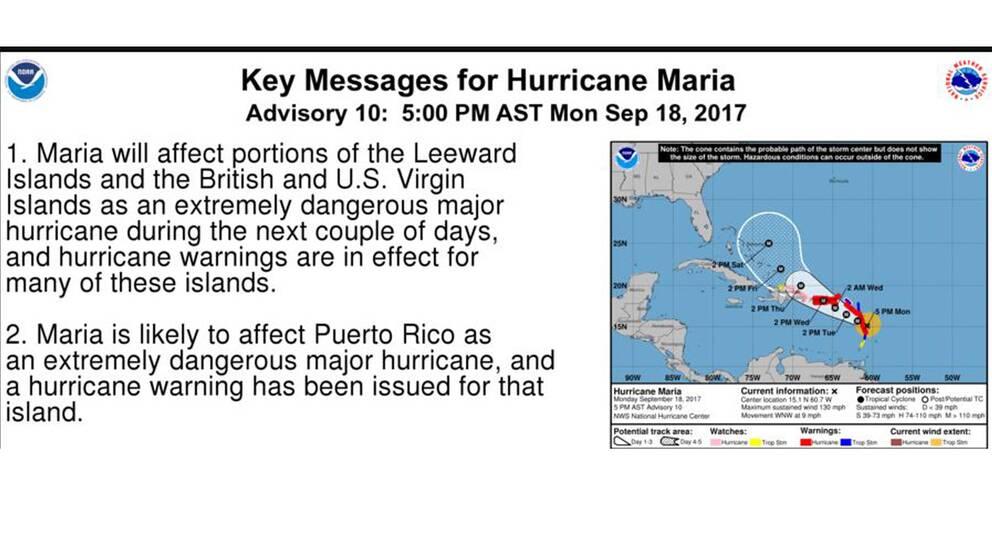 Maria beskrivs som en extremt farlig orkan av USA:s orkancenter NHC.