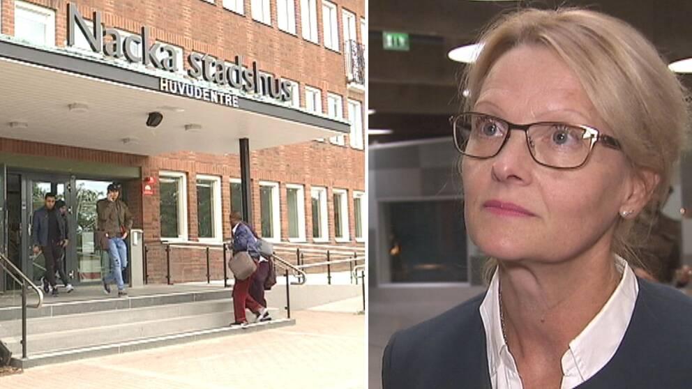 Exteriör på Nacka stadshus och migrationsministern Heléne Fritzon (S)