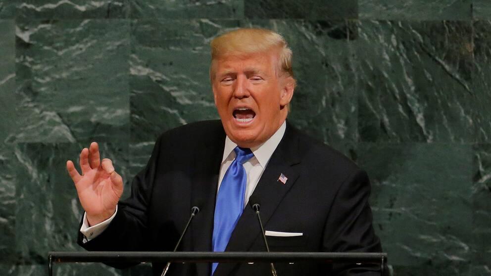 Donald Trump håller tal till FN.