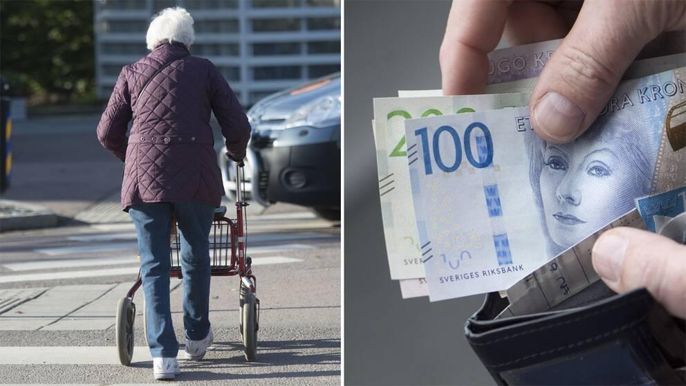 Till vänster en pensionär som går med rullator. Till höger en plånbok med sedlar.