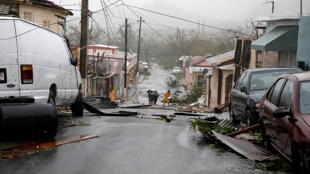 Guayama i Puerto Rico har drabbats av orkanen Maria.
