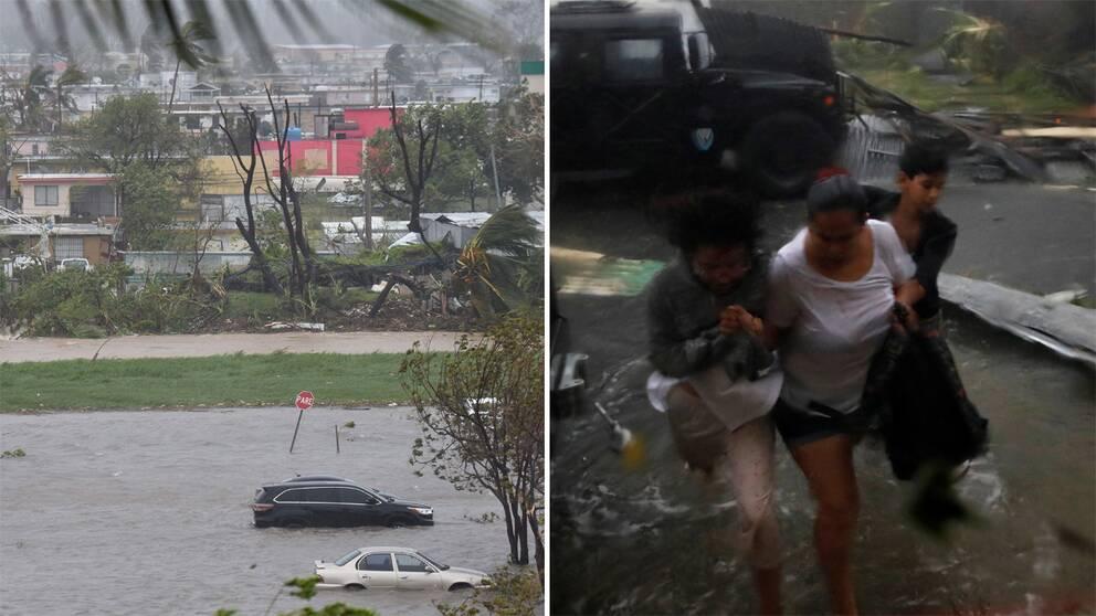 Bilder som visar översvämningar.