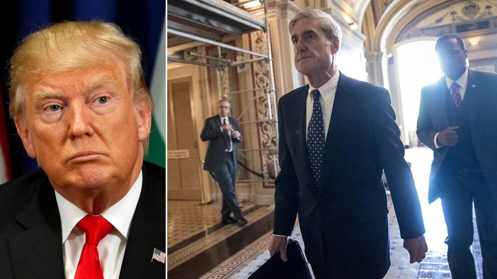President Donald Trump och åklagaren Robert Mueller.