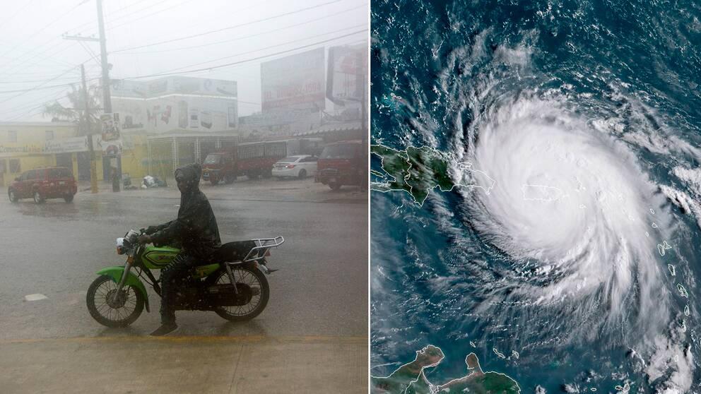 En man på motorcykel längs en översvämmad gata i dominikanska Punta Cana, samt en satelitbild av orkanen Maria över Puerto Rico