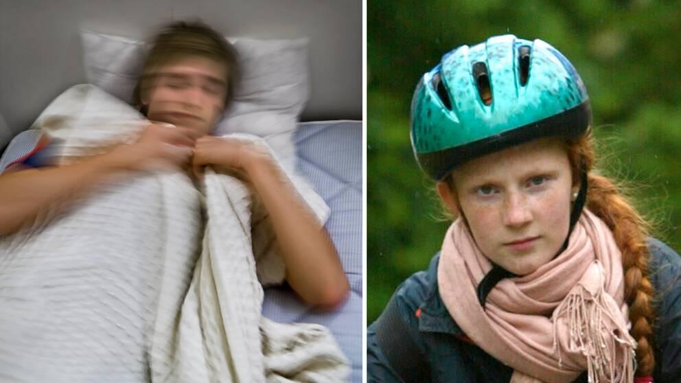 Ung man i säng och flicka med cykelhjälm