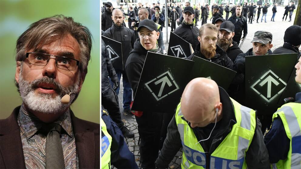 """Till vänster en bild av Christer Mattsson. Till höger flera män i svarta kläder, svara kepsar och med sköldar med nordiska symbol på. I förgrunden ses en civilklädd polis i en reflexväst med texten """"polis""""."""