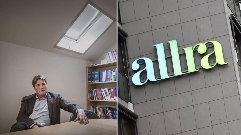 Thomas Bodström och Allras logotyp