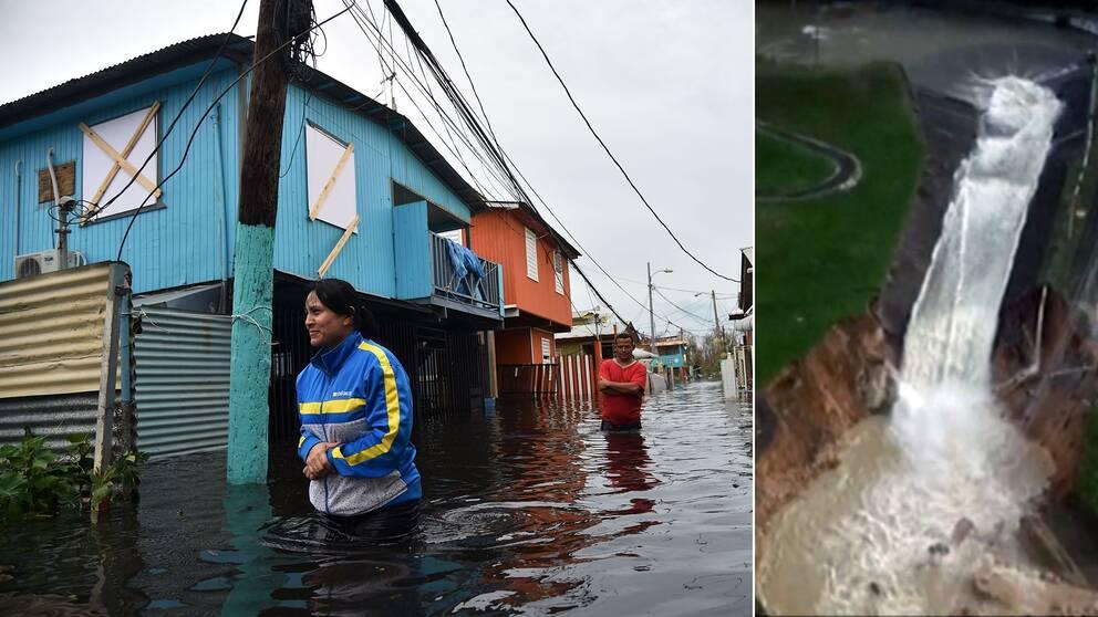 Orkanen Maria har översvämmat stora områden.