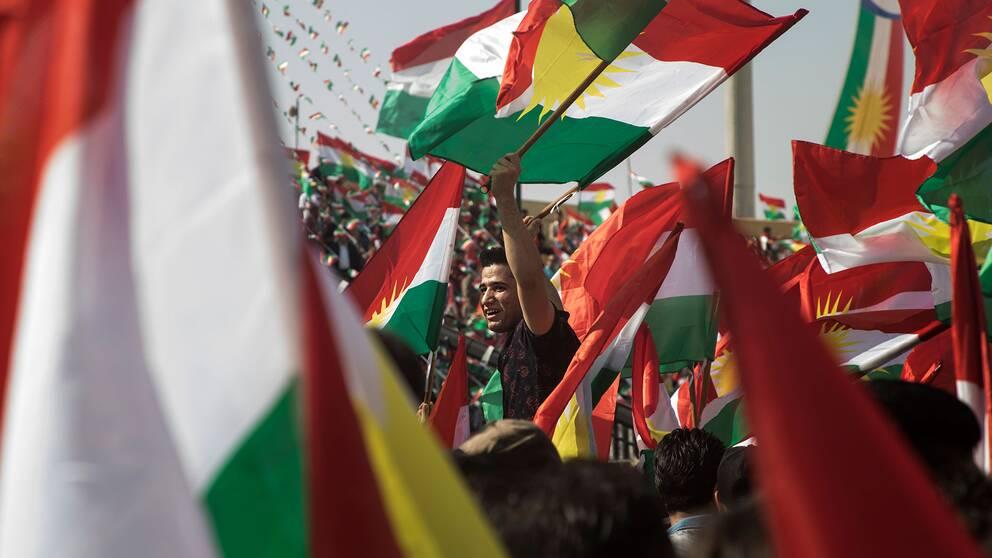 Man omgiven av kurdiska flaggor.