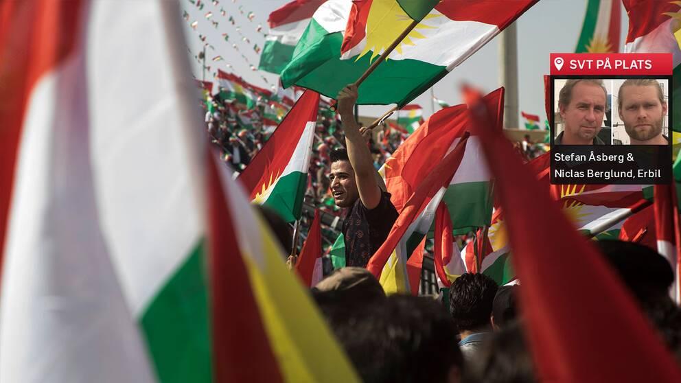 Arenan i Erbil badar i kurdiska flaggans färger, och förväntningarna är skyhöga blad kurderna.