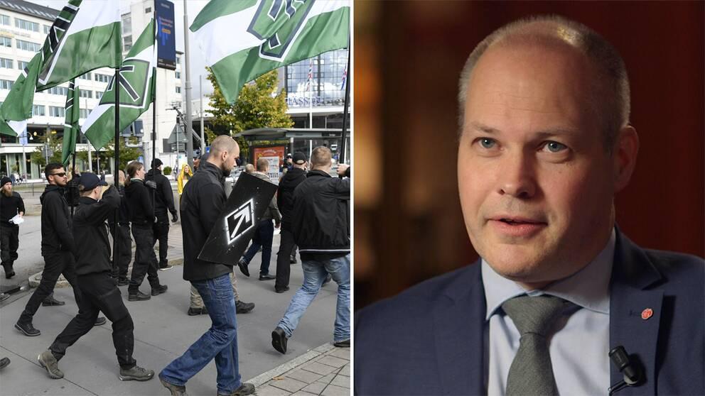 Till vänster Nordiska motståndsrörelsen demonstrerar i Göteborg. Till höger Morgan Johansson.