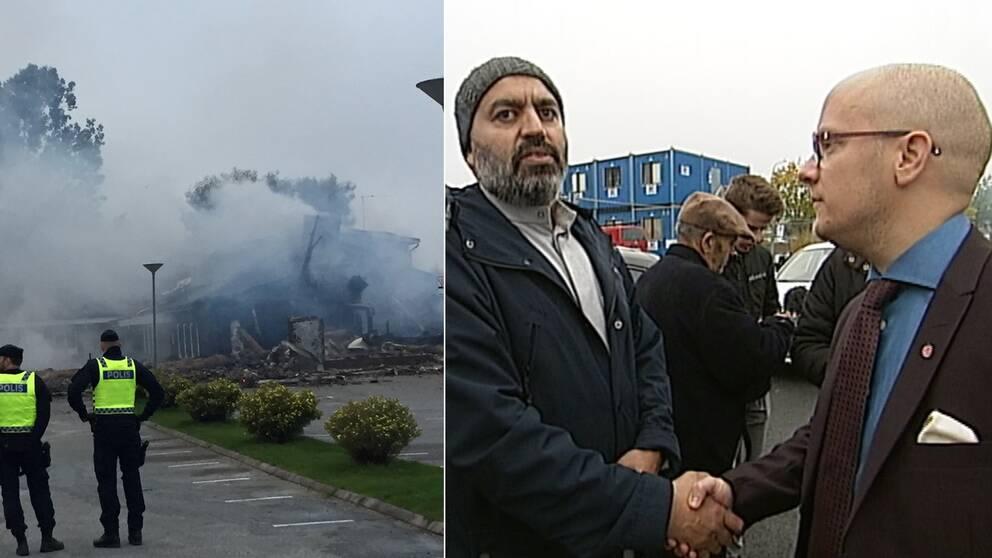 En bild vid moskén i Vivalla efter att det brunnit i byggnaden och en bild på vd:n för moskéns styrelse som skakar hand med Kenneth Nilsson, kommunstyrelsens ordförande.
