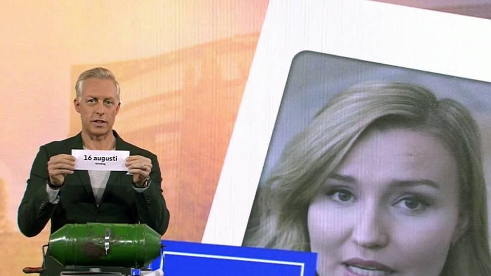 Lottdragning om datumen för partiledarutfrågningen i SVT inför valet 2018.