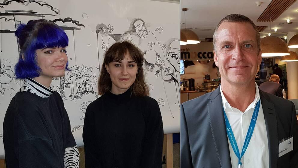 Linn Boström och Nina Alzuhn är några av eleverna som deltar i Science Week och Robert Kingfors,VD för Södertälje Science Park