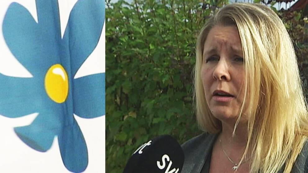 Madelene Vestin, Sverigedemokraternas ordförande i Dalarna och SD:s logotype